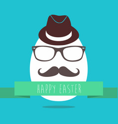 hipster easter egg fun greeting card design vector image