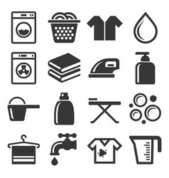 laundry and housework icons set vector image
