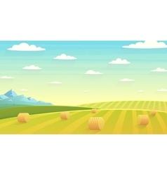 Natural landscape hay field vector image