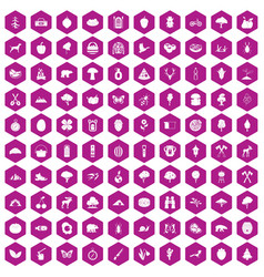100 camping and nature icons hexagon violet vector