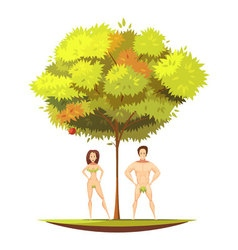 Adam Eve Under Apple Tree Cartoon vector