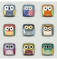 App icons set of owls vector