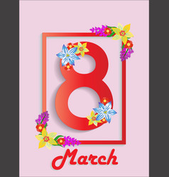 Banner of happy march 8th women s day on frame vector