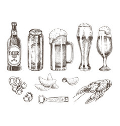beer set and various snack vector image