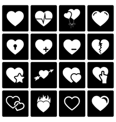 black hearts icon set vector image