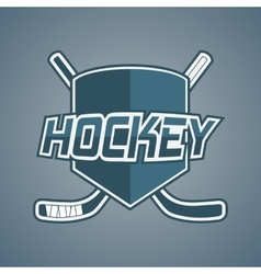Blue Hockey Team logo with Sticks and Shield vector image