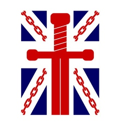 British flag t shirt typography graphics chain vector