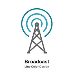 Broadcast flat icon vector