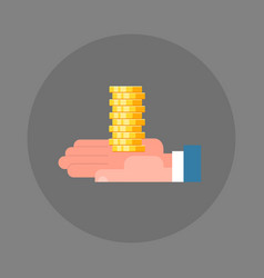 business man hand holding stack of coins icon vector image