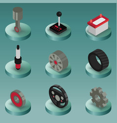 car part color isometric icons vector image