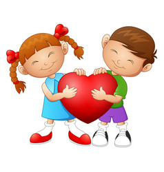 Cartoon couple in love holding heart vector