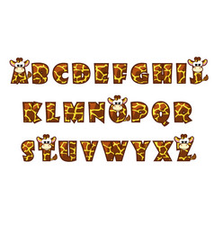 cartoon giraffe font lettering alphabet set vector image