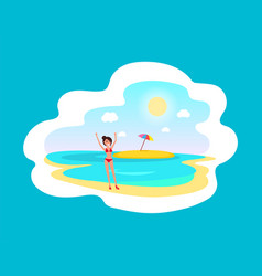 cheerful girl in red swimsuit near sea and island vector image