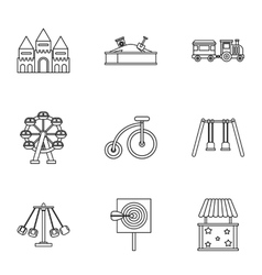 Children rides icons set outline style vector image