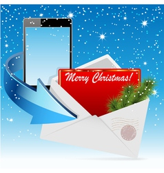christmas envelope card vector image