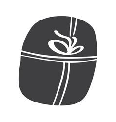 christmas giftbox icon silhouette simple vector image