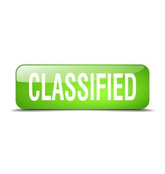 Classified green square 3d realistic isolated web vector