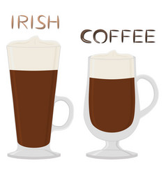 Cocktail creamy irish coffee in glass cup vector