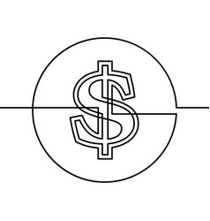 continuous line drawing dollar sign in circle vector image