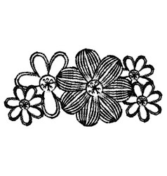 Contour flowers with ovals petals icon vector