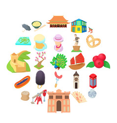 Culture of communication icons set cartoon style vector