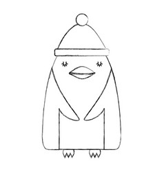 Cute penguin with christmas hat vector