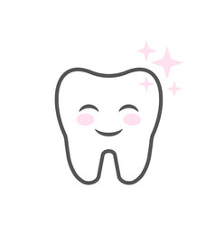 cute smiling cartoon character tooth clean teeth vector image