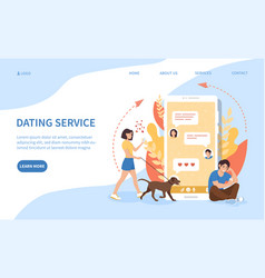 dating service via an online mobile phone app vector image