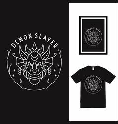 Demon slayer line art t shirt design vector