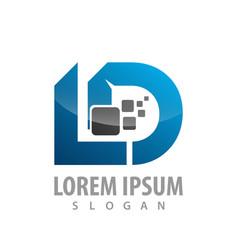 Digital initial letter ld logo concept design vector