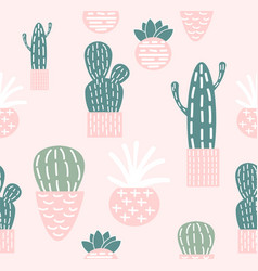 doodle cactus seamless pattern vector image
