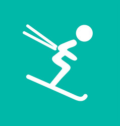 Downhill skiing icon thin line for web and mobile vector