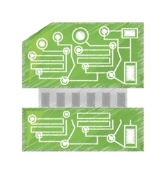 Drawing computer hardware processor card vector