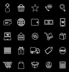 E commerce line icons on black background vector