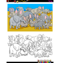 elephants and rhinos characters coloring book vector image
