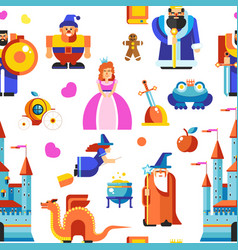 fairy tale characters seamless pattern kingdom and vector image