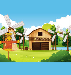 farm in nature scene with barn and windmill vector image