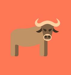 Flat icon stylish background cartoon bull vector