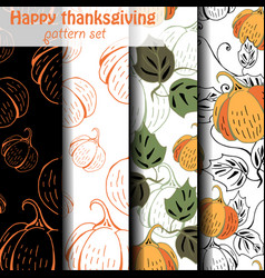 four different pumpkin patterns vector image