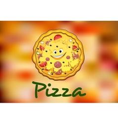 Full round cartoon pizza vector image
