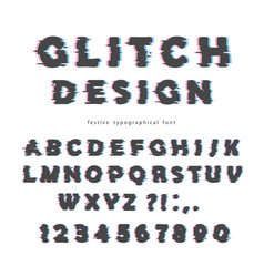 glitch font design isolated on white abc letters vector image