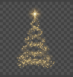 gold christmas tree on transparent background vector image