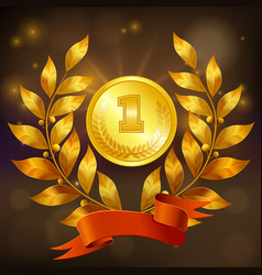 Golden medal realistic composition vector