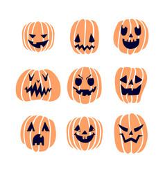 Halloween pumpkins set 2 vector