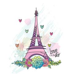 hand drawn flower love card eiffel tower vector image