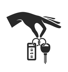 Hand Holding the Car Key Icon vector image