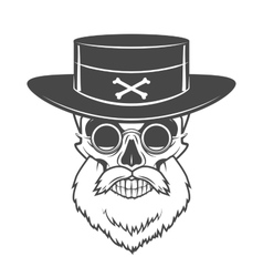 Head hunter skull with beard hat and glasses vector