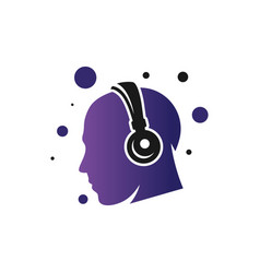 headset technology logo vector image