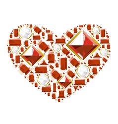 Heart gems vector