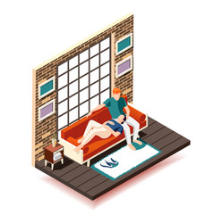 Home rest weekend isometric composition vector